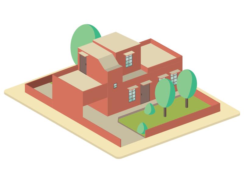 House No. 6 pastel isometric design isometric illustration design