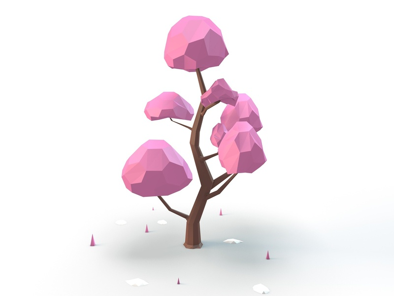 Cherry Blossom cinema 4d low poly art low poly low polygon web illustration design