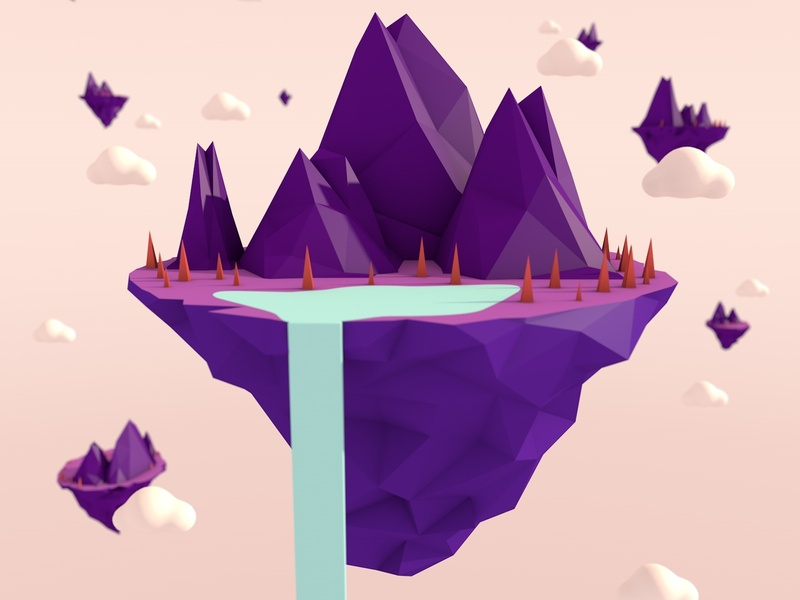 Islands in the Sky c4d cinema4dart cinema 4d lowpoly lowpolyart lo-poly low poly pastel design web illustration