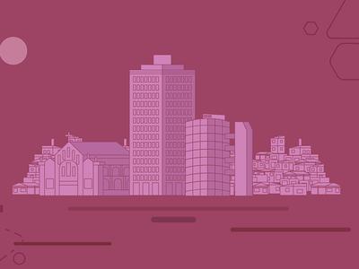City - Parrot design flat illustration workflow 2d city