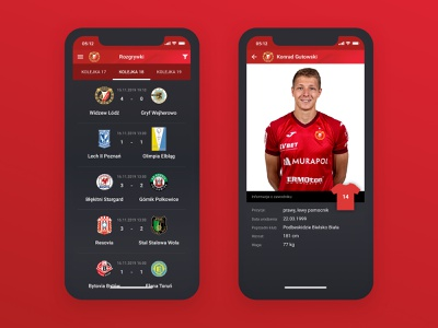 Widzew Łódź — Official App football team football club football mobile app app mobile interface ui