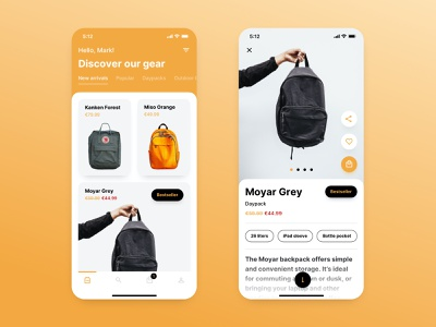 Backpack Store — Ecommerce App ecommerce shop shopping app ecommence shopping shop store backpacks backpack