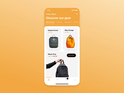 Backpack Store — Ecommerce App — Add to Cart Animation add to cart interface animation mobile ui ecommerce design ecommerce app ecommerce mobile app mobile ui animation