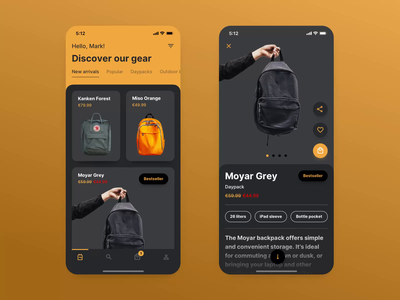 Ecommerce App — Dark Mode dark theme dark ui dark mode mobile ui animation mobile app