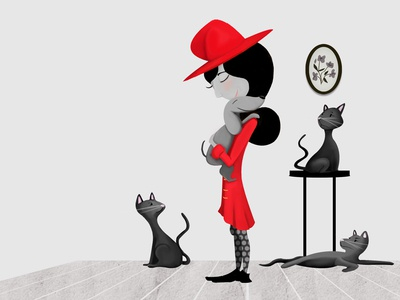 Wilda the Witch, some cats and her dog