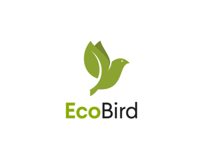 Ecobird flat simple environment forest eco-friendly green bird leaf