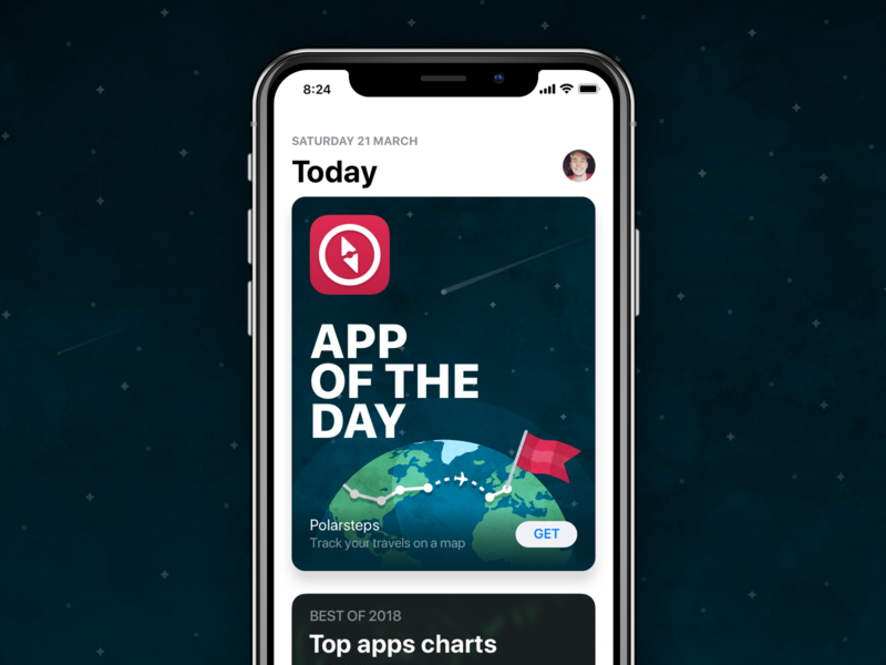 Polarsteps - App Of The Day earth space stars flat app store download featured trip route flag globe world app icon branding app apple app of the day travel illustration