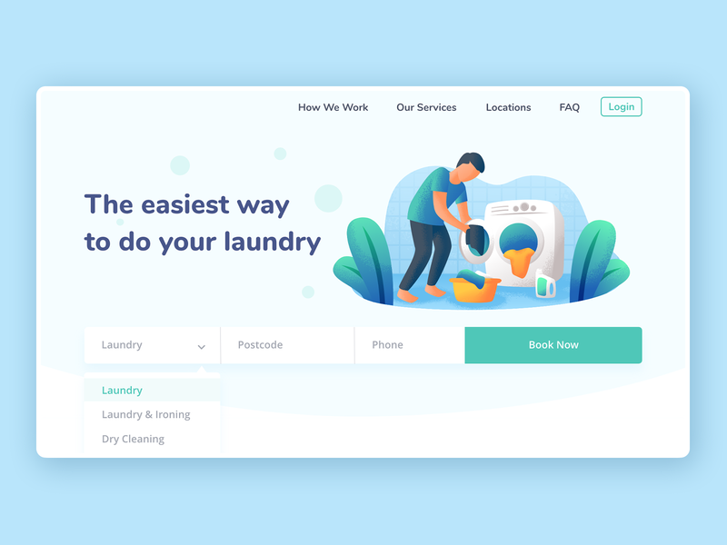 Laundry & Dry Cleaning Service Webdesign blue laundry webdesign dry cleaning webdesign ux ui cleaning service dry cleaning service laundry service webdesign