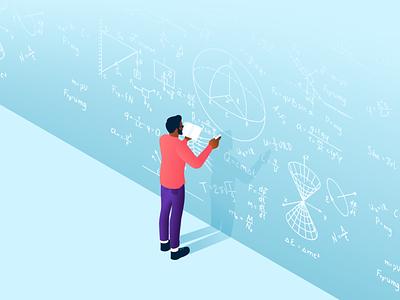 Research student university science development math data illustration research