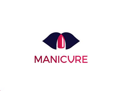 Manicure illustration flat girly care spa feminine nails lips logo