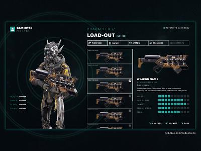 Sci-fi Co-op FPS Game Inventory UI user interface design adobe xd video game design ui