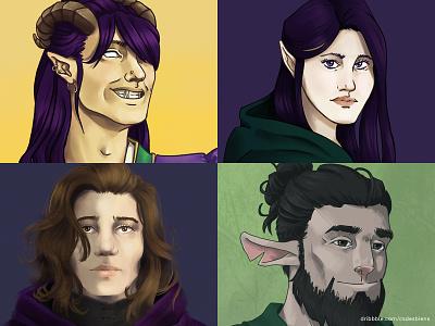 Style Exploration: Dungeons and Dragons Character Portraits procreate ipad pro illustration digital illustration