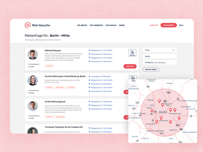 Search results for the real-estate app user profile search result map tenant search