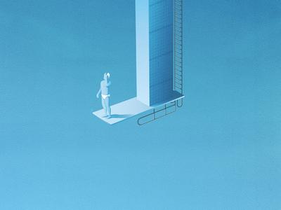 Diver janillustrates art print illustration blue upside down diver