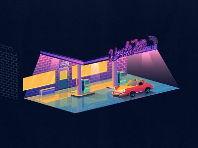 Uncle Joes janillustrates car color illustration fuel gasstation