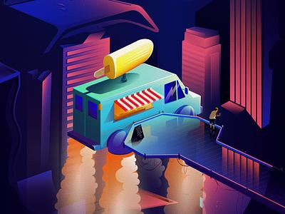 Ice cream truck dripping ice future gradient color illustration