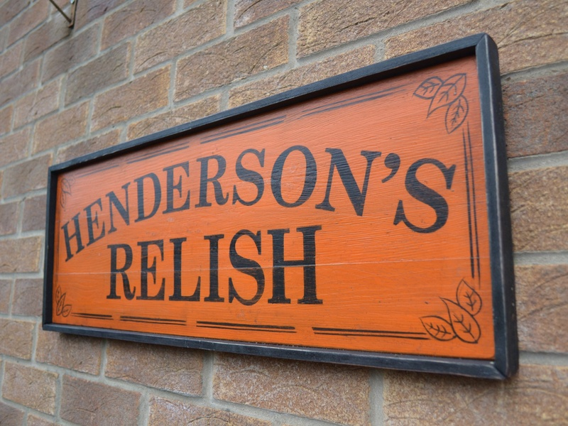 The Spicy Yorkshire Sauce traditional sign painted sign sauce yorkshire spicy sheffield relish hendersons