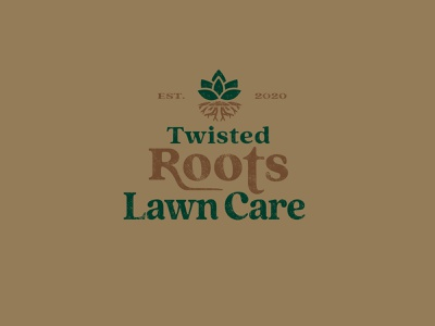 Twisted Roots Lawn Care typography branding logo design