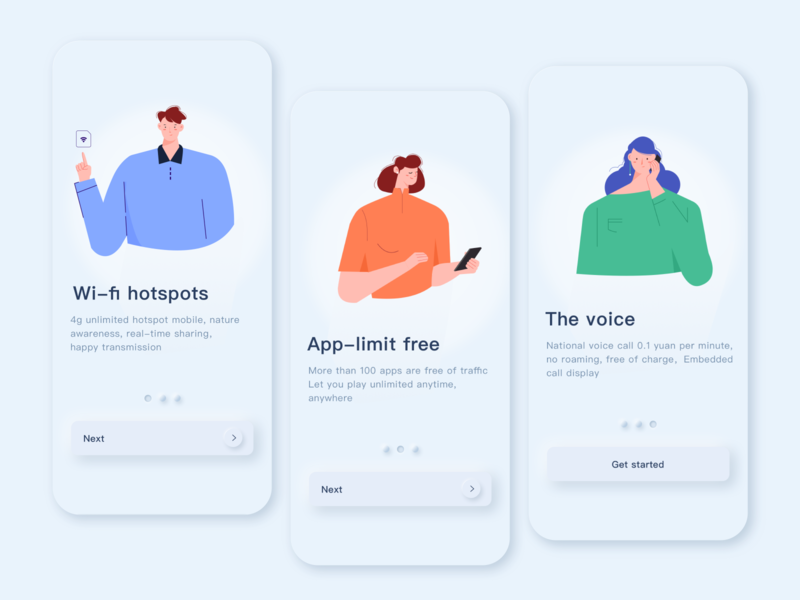 Phone card guide page phone card design neumorphism people illustration