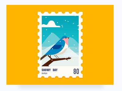 Stamps illustrations illustrations snow bird of branches the winter