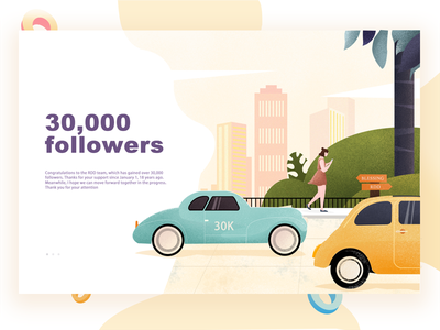 30000 followers green people car illustrations page web
