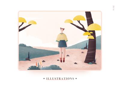 Illustrations green tree people ui design illustrations