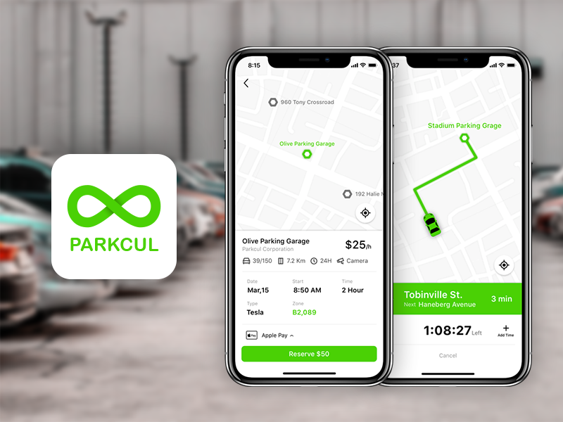 Parkcul App redesign app navigation reserve parking iphonex ui