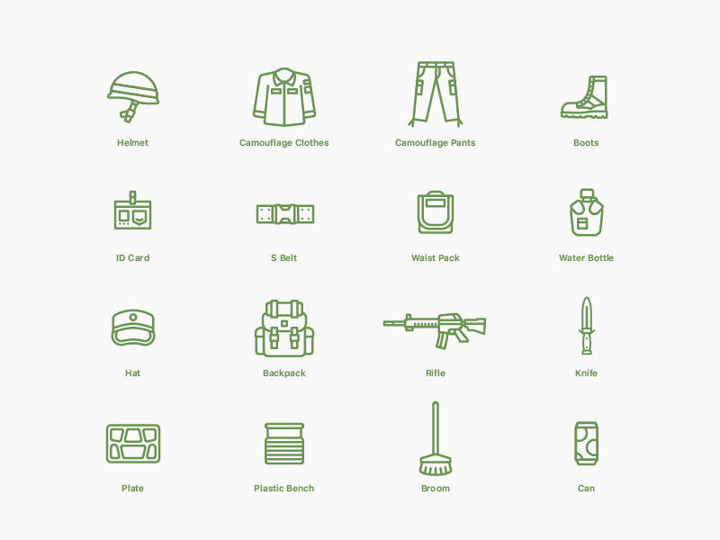 Icons  #04 Military Equipment bottle id-card rifle hat can broom bench plats knife boots backpack belt pants helmet clothes equipment flat icons illustration