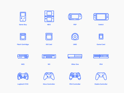 Video Games Icons sony logitech nintendo stadia card icons controller xbox switch ps4 gameboy games illustration flat