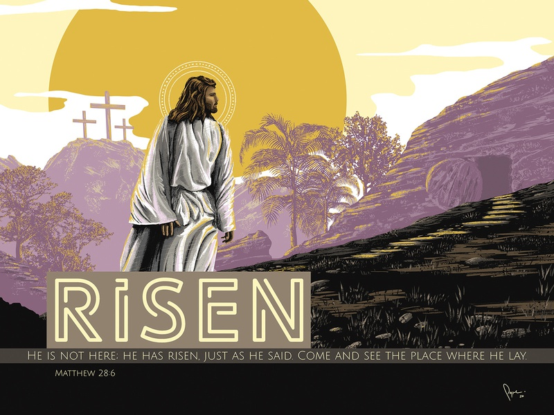 This is great news! HE IS RISEN! Jesus is Alive! easter sunday sunday sermon church digital painting cross tomb alive matthew 28 6 illustration christian risen jesus easter