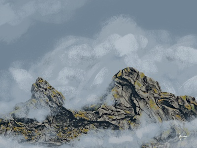Foggy Mountains outdoor art painting digital painting mountain range illustration outdoor fog mountains