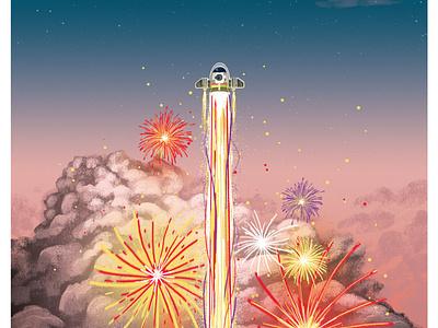 Netflix: Over the Moon netflix movie streaming poster fanart movie art illustration fireworks moon rocket over the moon netflix