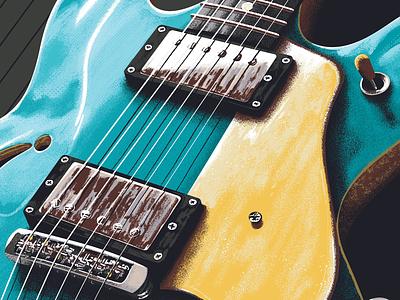 Bigsby Guitar Custom Art poster digital art music art music illustration commission guitar bigsby