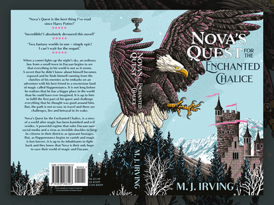 Nova's Quest Book Cover Illustration chalice mountains kingdom castle eagle fantasy art fantasy illustration art illustration cover design book design