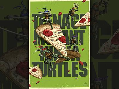 Cowabunga Dudes! Teenage Mutant Nina Turtles pop culture geek art alternative movie poster poster illustration heroes in a half shell michaelangelo raphael leonardo ninja turtles teenage mutant ninja turtles pizza