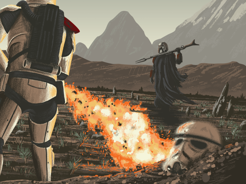 The Mandalorian: Bounty Hunting is a Complicated Profession bounty hunter movie art movie poster illustration outer rim mountains stormtrooper disney plus artist art starwars digital art digital painting fanart mandalorian disney art disney