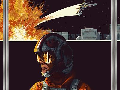 Star Wars Impressions: A New Hope digital painting movie art illustration death star x-wing luke skywalker a new hope star wars