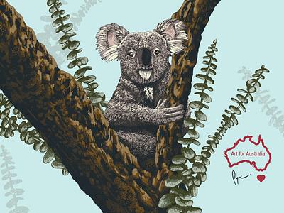 Art for Australia fundraising illustration tree outdoor koala wildlife digital art art australia