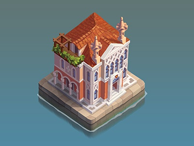 Palazzol6 canal house midcore mobile gameasset upgradeable palazzo venice italy isometric iso game