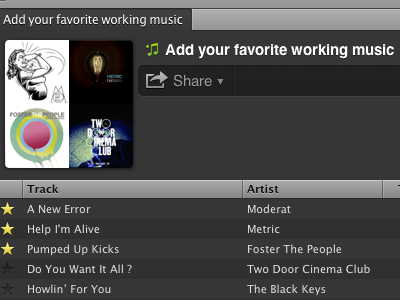 Dribbble, add your favorite working music! music spotify