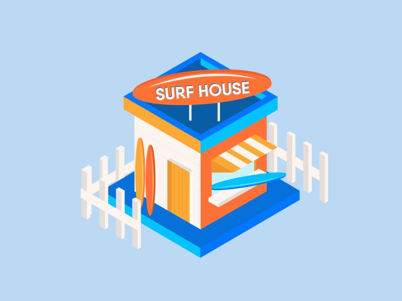 Surf House Isometric Illustration surf draw art graphicdesign design art design vectorart vector materialdesign illustration art illustration illustrator isometric design isometric illustration isometric art isometry