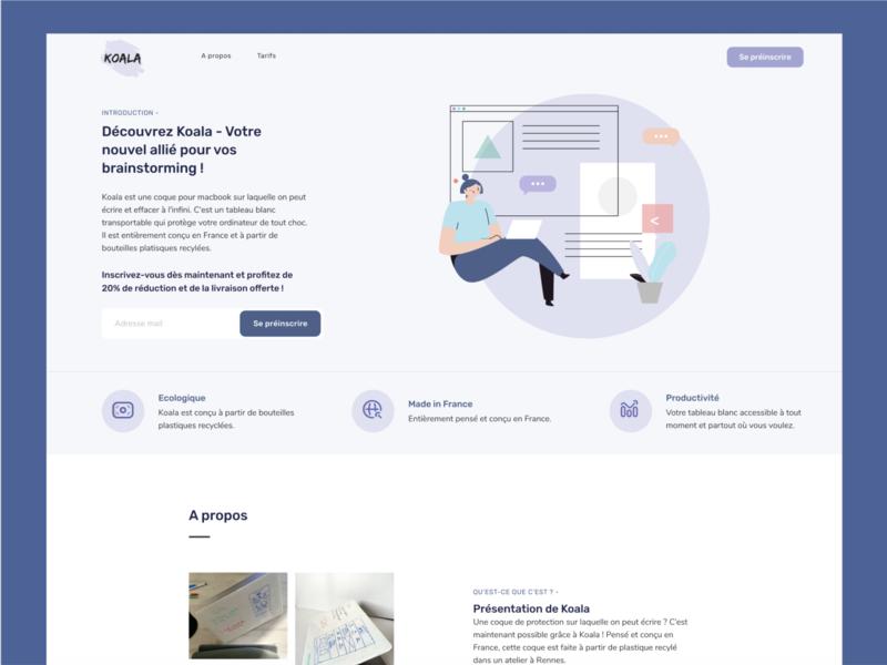 Meet Koala - Your new best ally for your brainstorming product brainstorming macbook waiting list preinscription register purple branding illustration elements interface design ui