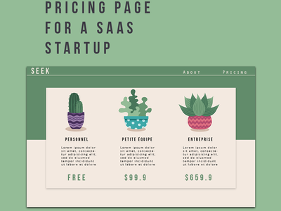 Pricing Page for  a Saas Startup green cactus illustration elements dailyui daily ui
