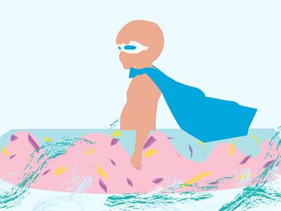 Happy Kido lifesavor donut sea innertube kiddo illustration
