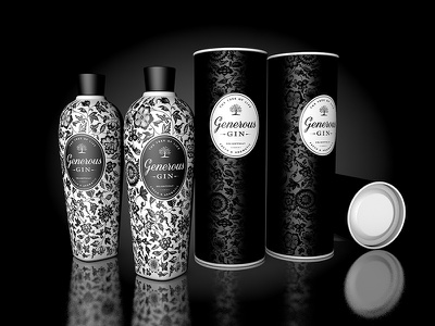 Generous Gin juniper perfume floral porcelain drawing canister alcool packaging pattern gin design bottle