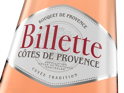 Listel - Billette Côtes de Provence packaging 3d provence design label rosé wine bottle