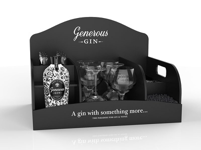 Generous Gin On trade packaging 3d usa generous gin plv