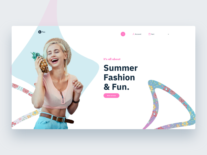 & Fun store landing page fun summer website clothing store clean minimal ui ecommerce design web