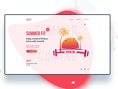 Summerfit ui web logo vector illustration clean adobexd sport beach holyday tour website fitness summer