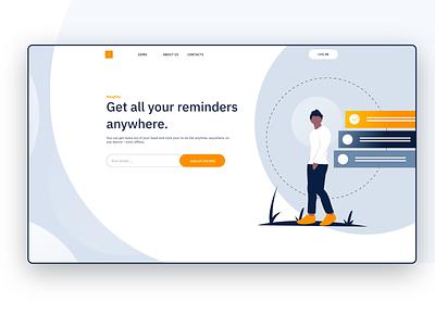 Reminder product design website gradient illustration clean design landing page reminder app